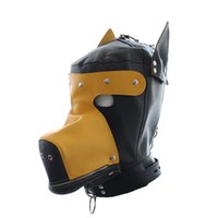 Wholesale Dog Mask Sex - PVC Leather Dog Hood Mask with Removable Goggles Sex Product for Adult Sex Games