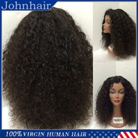 Wholesale Wig Tyra Remy Hair - 8A Kinky Curly Human Hair Wigs Unprocessed Brazilian Virgin Full Lace Wigs With Baby Hair   Lace Front Wig For Black Women