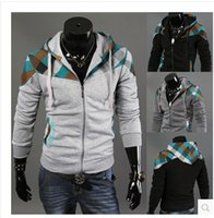 block shipping services - color block decoration plaid male lovers sweatshirt cardigan class service