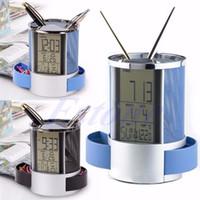 Wholesale Alarm Clock Temp - Wholesale-Free shipping Digital LCD Desk Alarm Clocks Stainless Steel Mesh Pen Holder Time Temp Calenda