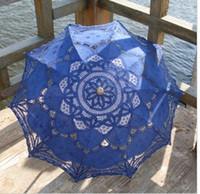 Wholesale Blue Lace Parasol - Lace Bridal Parasols White Pink Blue 8 colors Wedding Umbrella New Photography props 82cm Diameter 68CM length Beautiful Bridal Accessories