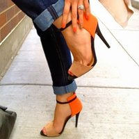 sapatas alaranjadas do salto alto da cor venda por atacado-Cor emendado handamde orange one piece mulheres sandália sexy sapatos de salto alto senhoras ol sandálias gladiador festa de casamento shoes plus size sexy