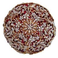 bouquets personnalisés achat en gros de-Incroyable Luxious Bouquet De Broche De Diamant pour Mariage, Meilleure Qualité Full WineRed Rose Alliage D'or Rose Strass Usine Personnalisé W888-13