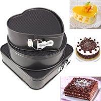 ingrosso torte di compleanno forma del cuore-Stampo per torta da cucina in 3 pezzi Forma rotonda quadrata in metallo a forma di cuore in tondo stampo per torta in metallo