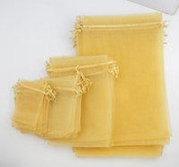 Wholesale organza wedding pouch bags 9x12cm online - 4sizes Hot sell Golden Organza Jewelry Gift Pouch Bags For Wedding favor X9cm X12cm X18cm X30cm