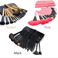 2018 Make-up Pinsel Set 24pcs Portable Full Cosmetic Make-up Pinsel Tool Foundation Eyeshadow Lip Pinsel mit Tasche Pink Black 3color