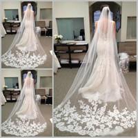 Wholesale Wedding Veil Decorations - 2018 Chapel Length Tulle Bride Wedding Veils with Comb Applique Decoration Long Bridal Veil Hair Accessories