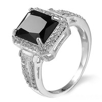 schwarze onyx-sets großhandel-10 Stücke 1 Los LuckyShine Square Black Onyx Kristall Zirkonia 925 Sterling Silber Crown Ringe Sets Frauen Weihnachtsferien Geschenk