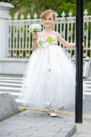 Wholesale Sweet Garden Girl - White Soft Tulle Sweet Princess Flower Girls Dresses For Garden Wedding Flowers Strapless Floor Length Tutu Dresses Fashion Party Gowns 2016