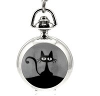 black cat animation - Hot sales design fashion cute black cat enamel Animation cartoon children students Quartz pendant Necklace pocket watch