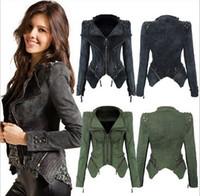 Wholesale Short Rivet Jeans - Fashion Army green Grey jeans jackets women oversized denim jacket punk chaquetas mujer vintage Rivet coats hight quality free shipping