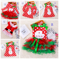 Wholesale Kids Tiered Skirts Wholesale - Girls christmas dress babies clothes kids holiday clothes children dresses for girl Santa Claus snowman printed child infant lace tutu skirt