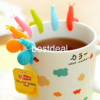 Wholesale Wholesale Tea Bags Labels - Tea bag hanging clips Silicone Snail glass label Tea Bag Holder for Health Tea infuser accessories Novelty households