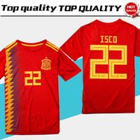 camisetas de fútbol españa al por mayor-Camiseta España de fútbol rojo local Jersey 2018 Copa del mundo Camiseta de fútbol local de España 2018 # 22 ISCO # 20 ASENSIO # 15 RAMOS Uniformes de fútbol ventas talla S-3XL