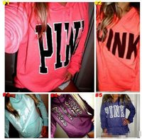 Wholesale Bamboo Shirt Wholesale - hot salePink Letter Hoodies Love Pink Jacket Women Pink Sweatshirts Letter Print Tops Pullover Hoodie Fashion Shirt Coat Long Sleeve Sweater
