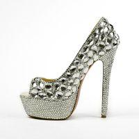 Wholesale Heels Fashion Lady Shoes Bridal - Fashion Rhinestone Wedding Shoes Super High Heel Platform Lady Shoes Peep Toe Bridal Dress Shoes Formal Dress Pumps Party Shoes