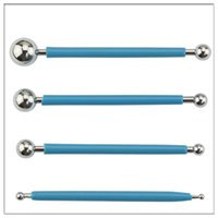 Wholesale Polymer Clay Ball Tool - 4Pcs Double Head DIY Stainless Steel Ball Polymer Clay Pottery Ceramics Sculpting Modeling Decorating Modelling ball Tools
