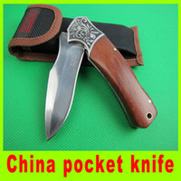 Wholesale China Hunting Gear - Promotion China pocket knife wooden handle 5Cr13 56HRC EDC folding blade knives camping Utility outdoor gear knife gift 402L