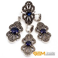 Wholesale Dark Green Jewelry Sets - Dark Green Crystal & Flower Shape Antiqued Tibeten Silver Ring Earrings Pendant Classical Jewelry For Party Hot Item !