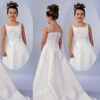 robes de concours de porcelaine achat en gros de-2020 satin de broderie de dentelle mignonne une robe de fille de fleur de ligne Made in China