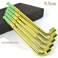 Wholesale Tobacco Stems - Vintage Faux Fade Brass Smoking Pipe Gold Long Tobacco Stem Cigarette Filter Holder Cigar Cleaner Tools MINI Smoking Accessories YD050
