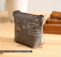 Wholesale Vintage Purse Coin Keychain - New Fashion Women's Canvas Bag Coin Purse Coin Pocket Cosmetic Makeup Bag Keychain Key Holder