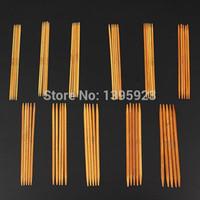 Wholesale Knitting Needle Double Point - 11 Sizes Set 13cm Double Pointed Carbonized Bamboo Dark Patina Needles Knitting Knit