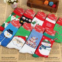 Wholesale Knit Socks Adults - free ups ship Adult Christmas Knit Knee High Socks Men Santa Socks Women Deer Socks Big Children Cotton Socks 15style choose freely
