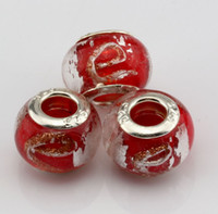 """Wholesale Glass Gold Foil Beads - Hot ! 100pcs Red Gold Silver Foil Alphabet """"e"""" lampwork Glass Large Hole Beads Fit Beaded Bracelet DIY Jewelry 14mm"""