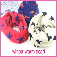 Wholesale Scarfs Dozens - Wholesale dozen sell children cotton scarf kids boy girl Ring Winter Scarfs Shawl Unisex knitting stars Neck Warmer Scarves
