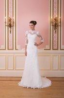 Wholesale Collar Neck Wedding Dresses - White Sheath Wedding Dress vestido de noiva High Collar Three Quarter Sleeve Appliques Button Neck Court Train Bridal Gown