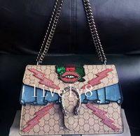 Wholesale Glitter Handbags - Newest Fashion Style High quality 30cm womens Luxury Brand Leather women Shoulder Bags handbag totes Messenger Bags Cross Body Vintage chain