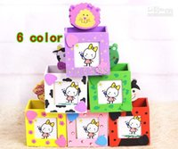 Wholesale Wooden Pencil Wholesale - 12pcs lot Cartoon Animal Wooden Pen Holder Multi-function Photo Frame Storage Bucket Straight Edge Notes Folder 6 Color Can choose 58g