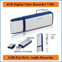 ingrosso registratore vocale dell'azionamento della penna del usb-2 in 1 mini 4GB USB 2.0 Digital Voice Recorder registrazione dittafono ricaricabile Pen Drive Audio Audio Recorder 150 ore WAV PQ141