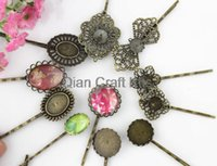 Wholesale Hair Pins Base - 50pcs mixed styles Vintage Filigree Hairpins Hair Pins, Bobbypins Antique Brass Waved Hair Clips Base Settings with Pads
