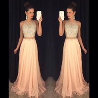 Wholesale sheer halter gown - 2016 New Arrival Coral Blingbling Two Pieces Prom Dresses Sheer Crew Neck Blingbling Beaded Crystals Backless Chiffon Long Party Gowns