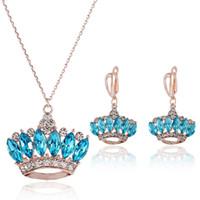 Wholesale Korean Wholesale Bridal Necklace - Noblest Charming Sapphire Wedding Jewelry Sets Luxury Bridesmaid Jewelry Sets Queen -like Bridal Jewelry Sets Korean Style