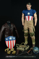 Wholesale Helmet Shoe - Mnotht 1 6 Captain America WWII salvation Edition Suit Set Coat Pants Shoes Bag Helmet For12in Male Solider Model l30