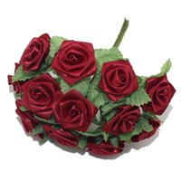 Wholesale Dark Red Artificial Flowers - Free Shipping 2cm head ulberry dark red satin Flower Bouquet wire stem  Scrapbooking artificial rose flowers(144pcs lot)