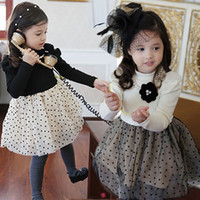 hilo tutu al por mayor-Vestido de princesa de hilo de cachemira para niñas de invierno 2014-2015 para niños, 5pcs / lot, dandys