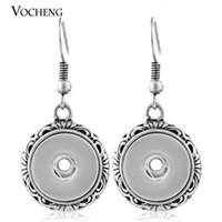 Wholesale Metal Jewelry Hoops - Wholesale- (10pcs lot) 12mm Metal Snap Button Charms Earring Vintage Hoop Earring NN-261*10 Free Shipping Vocheng Jewelry