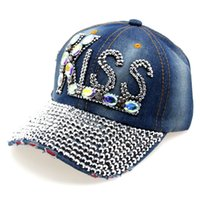 All'ingrosso-2015 Hot Sun regolabile cappello di moda Jeans Accessori completa Strass ROCK donne dell'annata Baseball Caps Lettera di modello H025