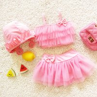 Wholesale Cute Hot Pink Bikinis - HOT SELL Sweet Girls Swimming Sets Lace Bowknot Bikini Beach Set Swim Cap + Tops + Pants Skirt Cute Princess Baby Swimwear Swimsuits A5149