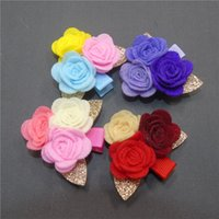 20pcs / Lot Felt Rose Flower Hairpin com ouro Glitter Leaf Three Mini cabelo floral Hair Summer Hair Hair Barrette Flower Hairpin Crianças
