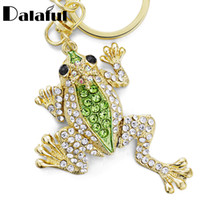 Wholesale Rhinestone Crown Keychain - Unique Crown Frog Keyring Keychain Fashion Metal HandBag Pendant Purse Bag Buckle key chains holder Accessories Gift K009