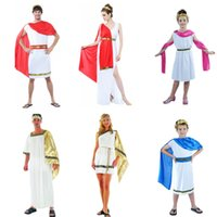 Wholesale halloween greek goddess - Greek Goddess Clothing Elegant Queen Woman Man Costume Cosplay Halloween Carnival Costumes Fantasia Fancy Dress Party Supplies