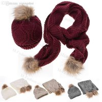 Wholesale Cheap Caps Gloves - Wholesale-free shipping 5pcs lot Knitted Hat Fashion Lady Warm Hats Casual Cap + Winter Scarf Set Women Cheap