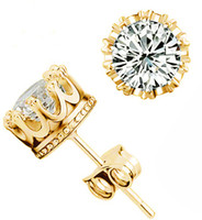ohrring gold hochzeit großhandel-Band New Crown Hochzeit Ohrstecker 2017 Neue 925 Sterling Silber CZ Simulierte Diamanten Engagement Schöne Schmuck Kristall Ohr Ringe