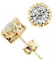 cz saplamaları toptan satış-Band Yeni Taç Düğün Saplama Küpe 2017 Yeni 925 Ayar Gümüş CZ Simüle Diamonds Nişan Güzel Takı Kristal Kulak Yüzükler