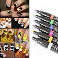 Wholesale Drawing Dotting Painting Pen - Wholesale-Hot Sale 1 Pcs Nail Art Pen UV Gel Pro Design Painting Pen Dot Drawing Multicolor Nail Polish Tools Pop Manicures Products